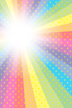 Background material wallpaper, rainbow, rainbow, rainbow, rainbow, sparkling stars, glitter, star, star, radial, party, colorful, happy, happiness, joy, heaven Ilustracja
