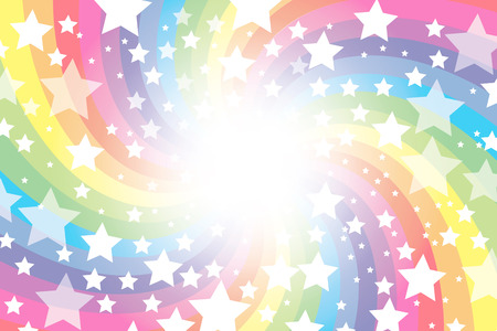 Background material wallpaper, rainbow, rainbow colors, seven colors, sparkling stars, glitter, star, stars, radial, party, colorful, happy, happiness, joy, heaven Vector