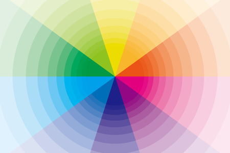 sns: Background, material, wallpaper, rainbow, radial, colorful, radiation, circle, warp, space, different dimension, four-dimensional, different space, subspace Illustration