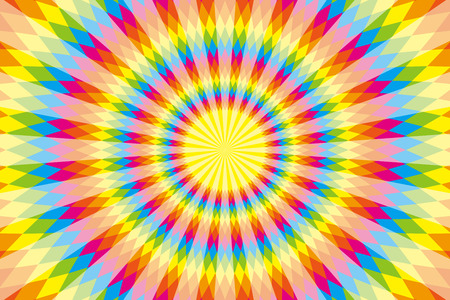 Background, material, wallpaper, rainbow colors, seven colors, colorful, Latin style, ethnic pattern, diamond, radial, Mexican, psychedelic Vector