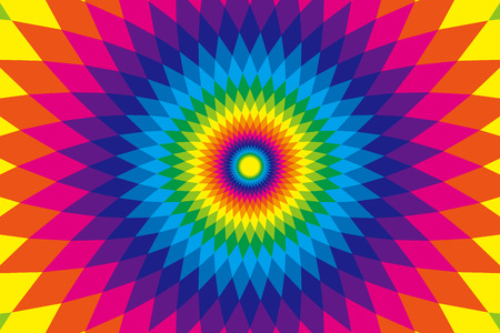 Background, material, wallpaper, rainbow colors, seven colors, colorful, Latin style, ethnic pattern, diamond, radial, Mexican, psychedelic
