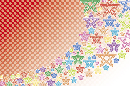 galaxies: Background material wallpaper, shooting star, star, stars, stardust, night sky, Milky Way, rainbow, rainbow colors, seven colors, colorful, pastel colors, polka dots Illustration
