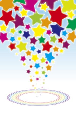 sky night: Background wallpaper material, wheel of the rainbow, rainbow, seven colors, rainbow colors, shooting star, star, stars, star pattern, stardust, galaxies, nebulae, sky, blue sky, night sky, Milky Way, Illustration