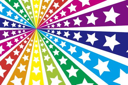 放射線放射状虹虹虹の 7 色カラフルなシューティング星星星星屑花火の壁紙背景素材