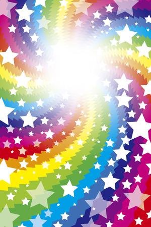 背景の素材壁紙、虹、虹、カラフルな渦巻く、うずまき、スター、スターダスト、銀河、星、明るい光  イラスト・ベクター素材