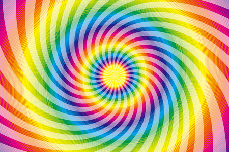 Wallpaper materials, Latin, psychedelic, rainbow-colored, rainbow color, colors, colorful, whirlwind, swirling, spiraling Stock Illustratie