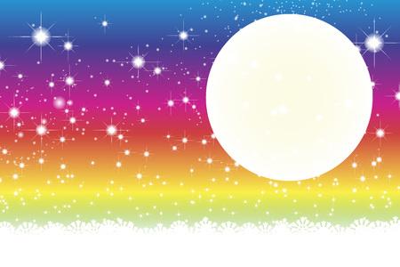 rainbow color star: Wallpaper materials, full moon, Stardust, Stardust, Galaxy, stars, milky way, moon, sky, sparkling, space, Moonlight, Moonlight Illustration
