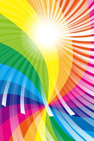 壁紙素材、虹、虹色、色、色鮮やかな、放射線、パーティー、光、輝き、かわいい、楽しい  イラスト・ベクター素材