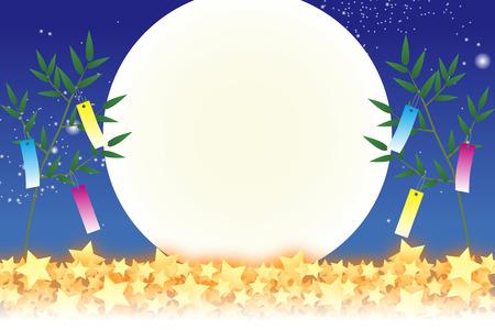Wallpaper materialen, Tanabata decoraties, festivals, tradities, riet, bamboe bladeren, de zomer, Stardust, melkachtige manier, melkachtige manier, exemplaar ruimte, witte ruimte, Vector Illustratie