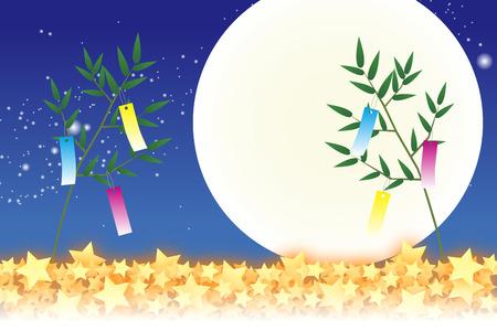 배경 화면 물질은 칠석 장식, 축제, 전통, 갈대, 대나무 잎, 여름, 스타 더스트는 은하수가, 은하수는, 공간, 공백을 복사 일러스트