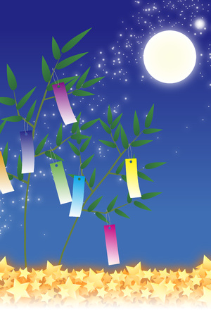 traditions: Wallpaper materials, Tanabata decorations, festivals, traditions, Reed, bamboo leaves, summer, Stardust, milky way, milky way, copy space, white space,