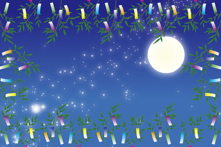 traditional events: Wallpaper materials, Tanabata Festival, kumeta, milky way, milky way, Moonlight, full moon, sky, space, sparkle, copy space, summer Illustration