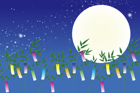 Wallpaper materials, Tanabata Festival, kumeta, milky way, milky way, Moonlight, full moon, sky, space, sparkle, copy space, summer Illustration
