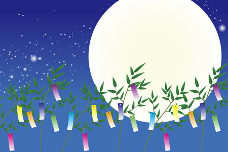 Wallpaper materials, Tanabata Festival, kumeta, milky way, milky way, Moonlight, full moon, sky, space, sparkle, copy space, summer Vectores