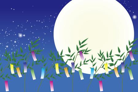 Wallpaper materials, Tanabata Festival, kumeta, milky way, milky way, Moonlight, full moon, sky, space, sparkle, copy space, summer Vettoriali