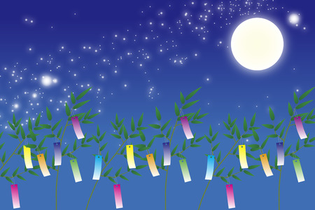 Wallpaper materials, Tanabata Festival, kumeta, milky way, milky way, Moonlight, full moon, sky, space, sparkle, copy space, summer 일러스트