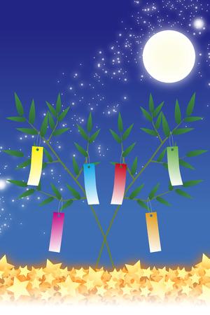 Wallpaper materials, Tanabata Festival, kumeta, milky way, milky way, Moonlight, full moon, sky, space, sparkle, copy space, summer Stock Photo