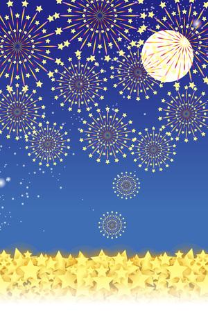 night view: Wallpaper materials, summer festivals, Fireworks, night sky, StarMine, light, shine, sparkle, milky way, tradition, traditions