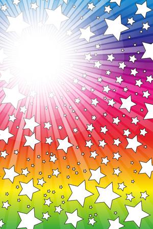 壁紙素材、スター バースト、スターマイン、ほこり、スターダスト、光、花火、虹の色、輝き、輝き、虹  イラスト・ベクター素材