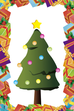 ad space: Background material, Christmas cards, tree, invitations, fir tree, presents, gifts, decoration ornament Illustration