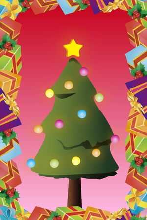 Background material, Christmas cards, tree, invitations, fir tree, presents, gifts, decoration ornament Illustration