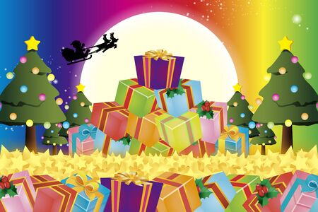Background material wallpaper, Christmas tree, gifts, lights, ornaments, decoration, winter, decorating