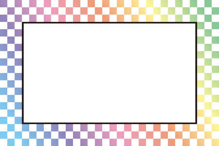 photography backdrop: Photo frame on colored checkered background. Vector illustration