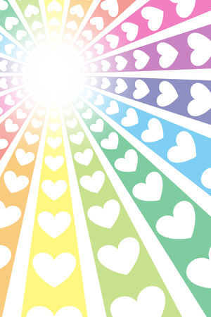 Background material, intensive line, radiant, heart pattern, Rainbow, Rainbow, cute, ads, posters, propaganda, party, Ray