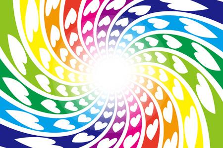 背景素材、スパイラル、スパイラル、スパイラル、心、希望、幸福、光、虹色、輝き、かわいいのパターン  イラスト・ベクター素材