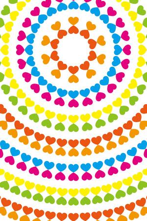 壁紙素材、シンボル、パターン、パターン、パターン、ハート、愛、虹、カラフルな円形