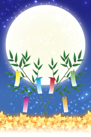 Wallpaper materials, Tanabata decorations, festivals, traditions, Reed, bamboo leaves, summer, Stardust, milky way, milky way, Vectores