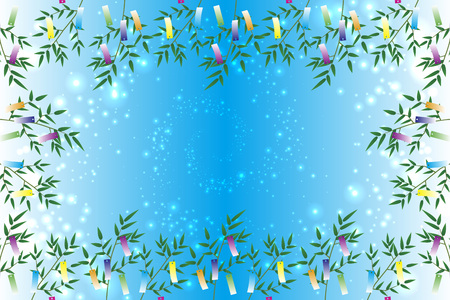 Wallpaper materials, Tanabata decorations, festivals, traditions, Reed, bamboo leaves, summer, Stardust, milky way, milky way, Illusztráció