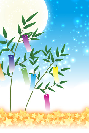 Wallpaper materials, Tanabata decorations, festivals, traditions, Reed, bamboo leaves, summer, Stardust, milky way, milky way, Illustration