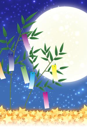 Behangmaterialen, Tanabata-decoraties, festivals, tradities, riet, bamboebladeren, zomer, sterrenstof, melkweg, melkweg, Stock Illustratie
