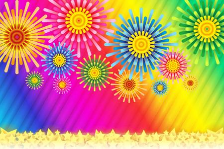 most popular: Fireworks image, Fireworks, StarMine, summer image, Japan, striped, stripe, plaid people, border pattern, night