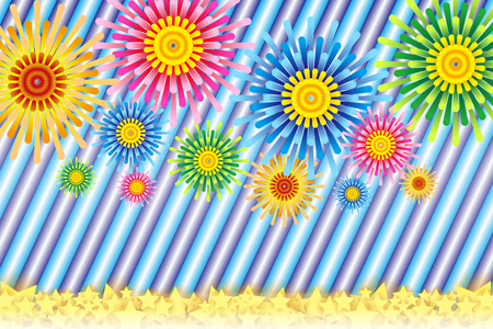 Fireworks image, Fireworks, StarMine, summer image, Japan, striped, stripe, plaid people, border pattern, night