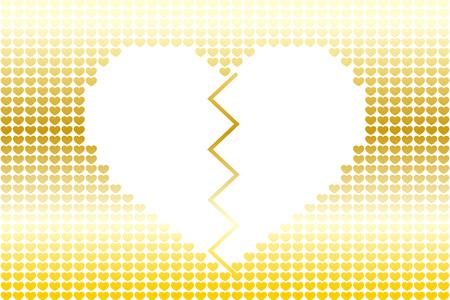 Defektes Herz in einem goldenen kleinen Herzhintergrund. Standard-Bild - 88919340
