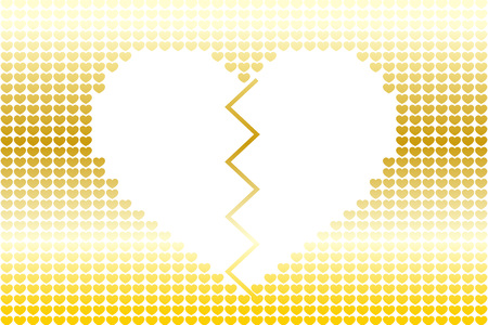 Broken heart in a golden small hearts background.