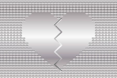 Heartbreak concept; heart with broken lines in silver, metallic illustration. Illustration