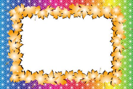 Background material, photo frame, photo frame, Japan, autumn, Japanese-style images, textures, Ryu, maple, Ginkgo, Maple Illustration