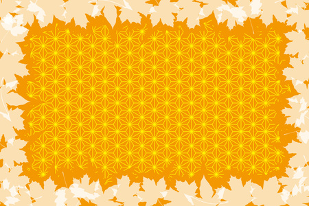 Background material, autumn, Japanese-style images, traditional patterns, maple, Ginkgo, Kaede, Momiji, Ginkgo, maple, title