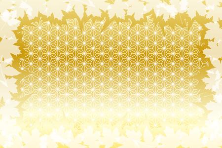 Hintergrundmaterial, Herbst, Bilder im japanischen Stil, traditionelle Muster, Ahorn, Ginkgo, Kaede, Momiji, Ginkgo, Ahorn, Titel Standard-Bild - 86873485