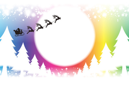 Background material wallpaper, Merry Christmas, cards, trees, decorations, decorating, decorations, lights, snow, night scene, glitter Illustration