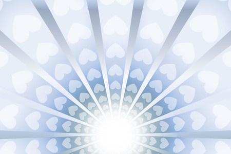 Bright light with rays and surrounded by hearts. Background vector illustration.