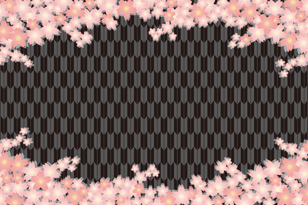 Material background wallpapers, cherry blossom, spring, enrollment, graduation, postcards, postcard templates, New Year's day, Japanese-style. Quinceanera, fletching, suiginto pattern. 矢量图像