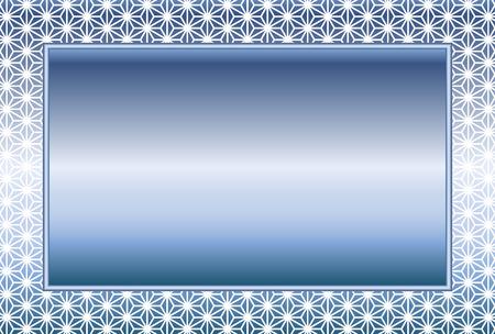 Blue metallic frame with ornamental design border.