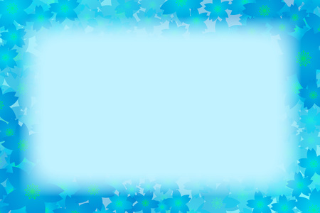 blue floral border frame on color background. Vector illustration. Illustration