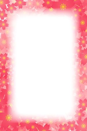 red floral border frame on white background. Vector illustration.