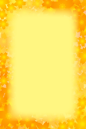 yellow floral border frame on color background. Vector illustration.