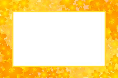 yellow floral border frame on white background. Vector illustration.